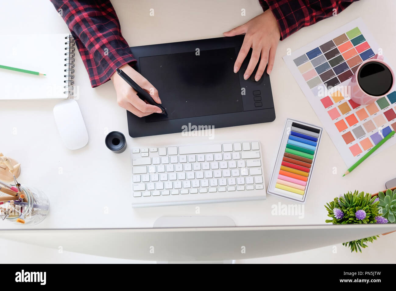 Top view a artist workplace with graphic designer working on workspace desk Stock Photo - Alamy