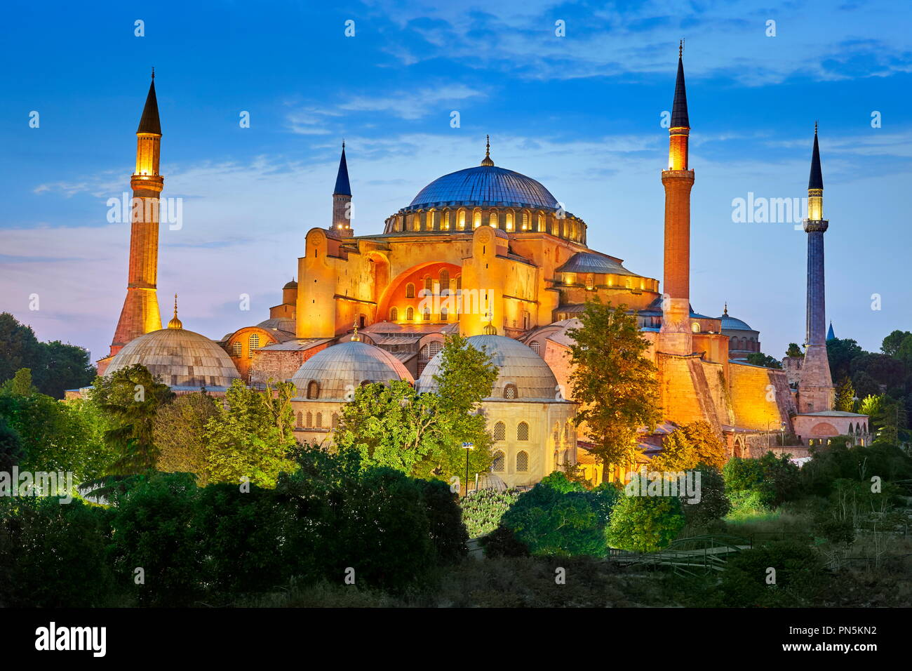 Hagia Sophia at evening light, Ayasofya, Istanbul, Turkey - Stock Image