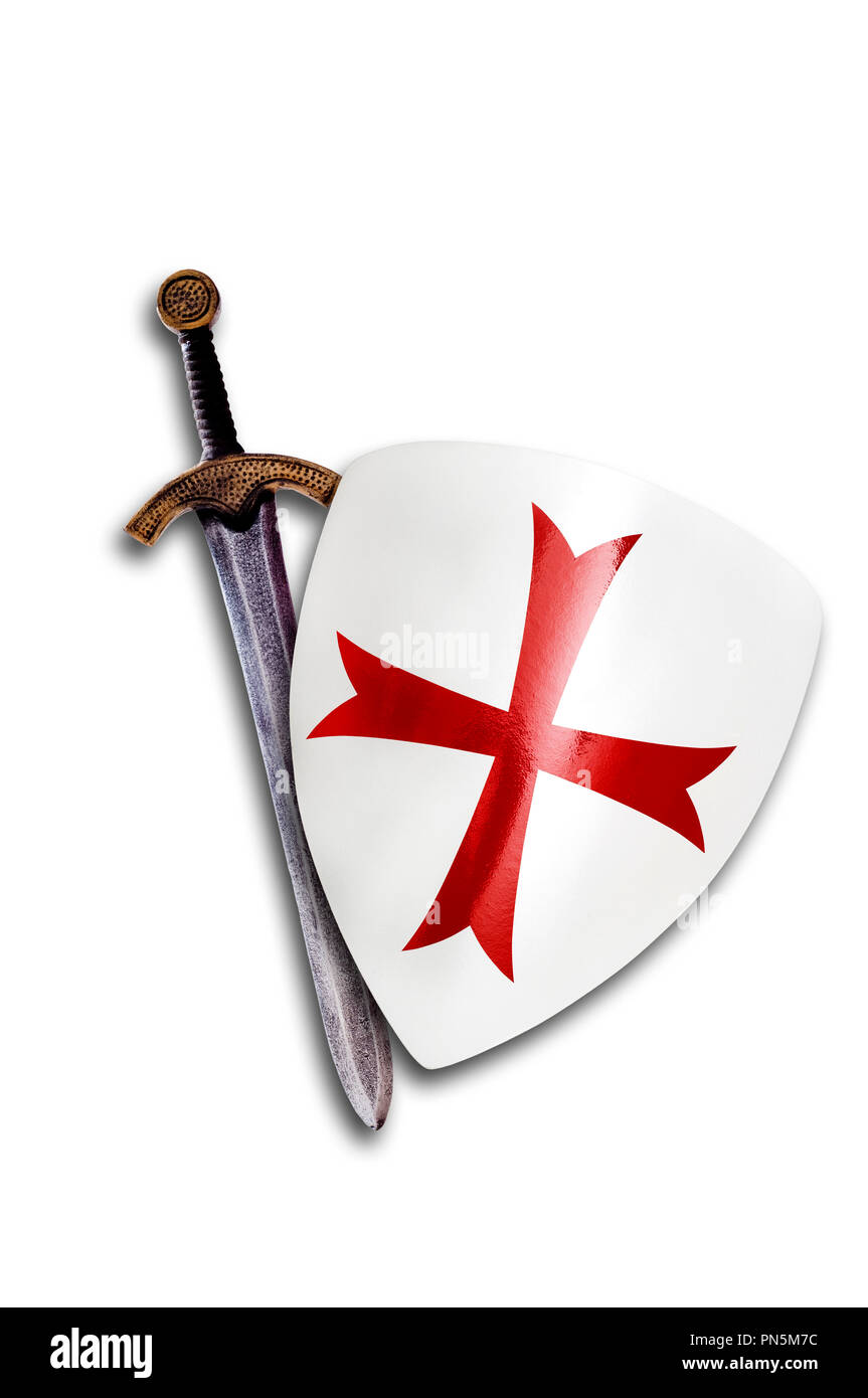 Knights Templar shield and sword isolated - Stock Image