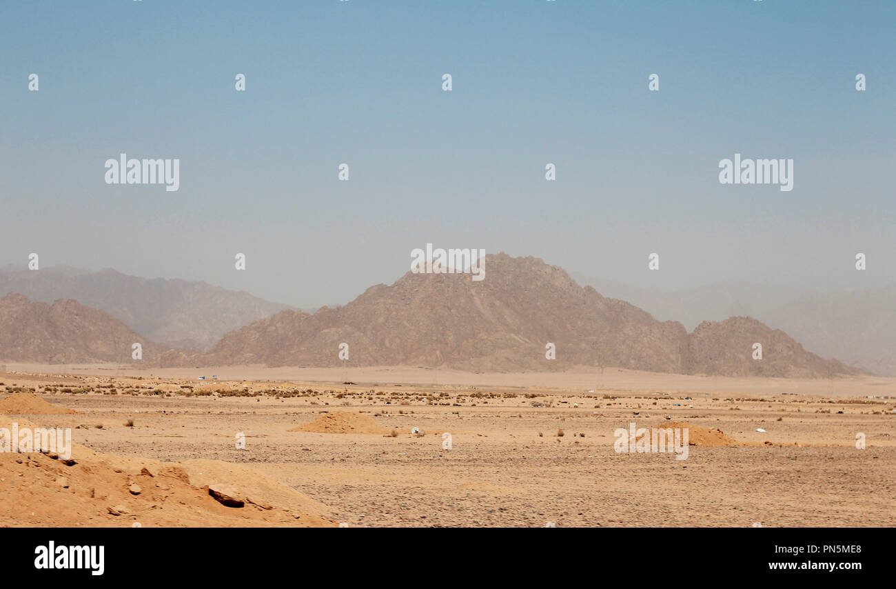 Egyptian Desert And Mysty Sky In The Daylight - Stock Image