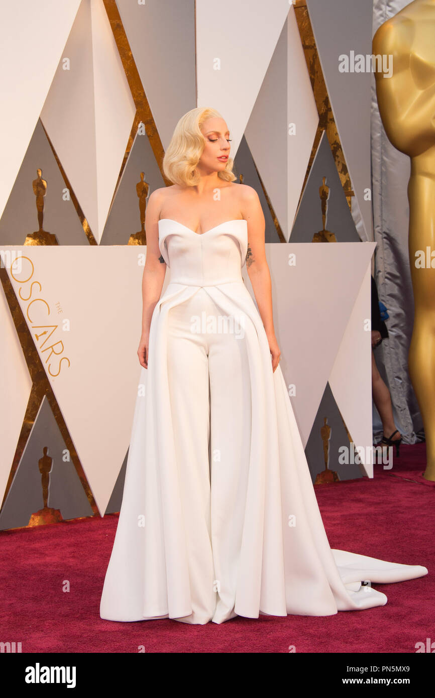 Oscar®-nominee, Lady Gaga arrives at The 88th Oscars® at the Dolby® Theatre in Hollywood, CA on Sunday, February 28, 2016.  File Reference # 32854 384THA  For Editorial Use Only -  All Rights Reserved Stock Photo