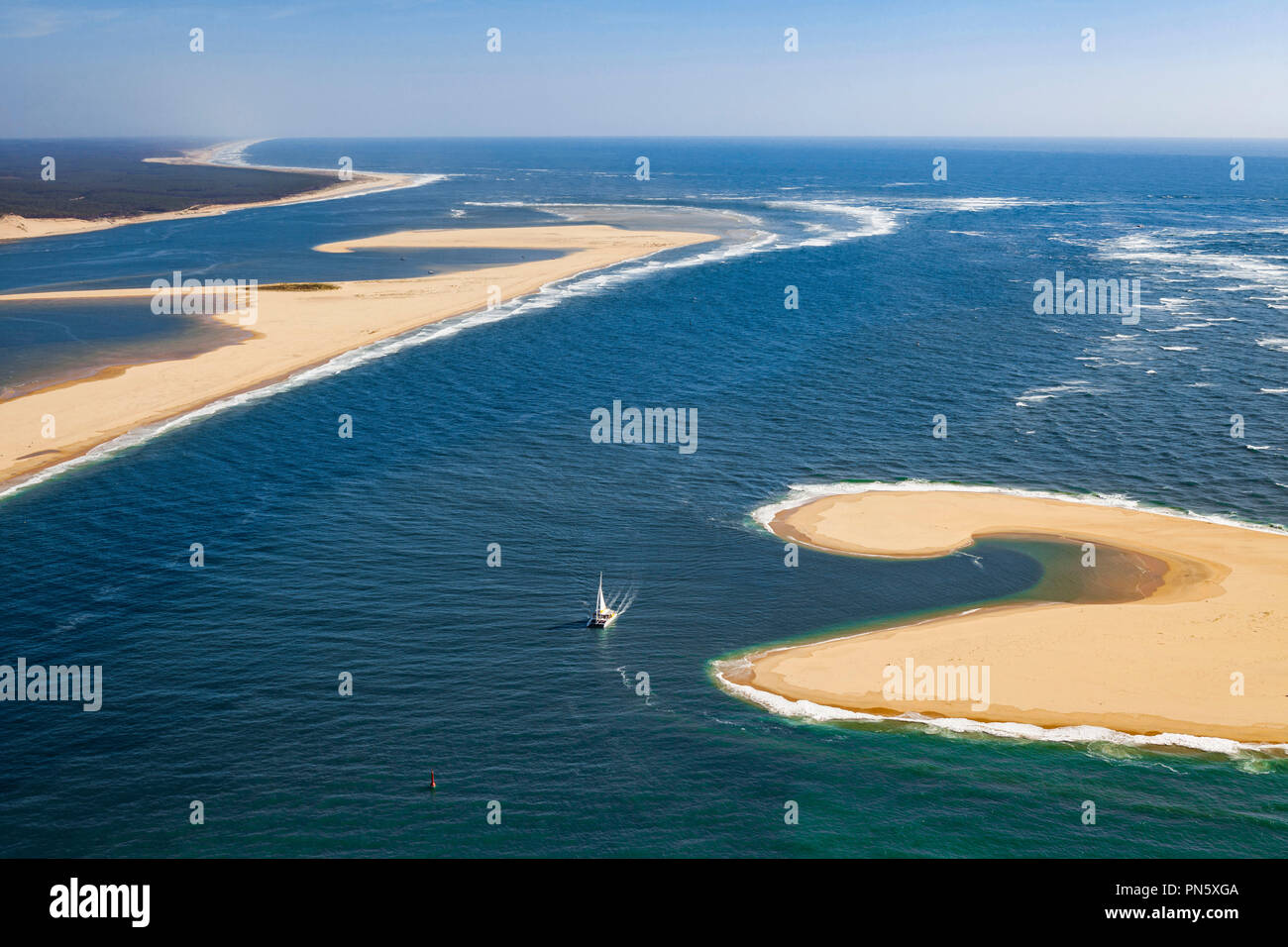 Aerial View Of The Banc Darguin Sandbank In The Arcachon Bay Not