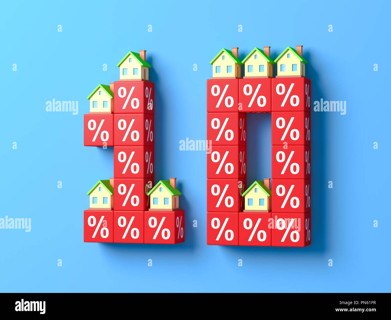 Number Ten With Miniature Houses And Red Percentage Blocks. 3d rendering. - Stock Image