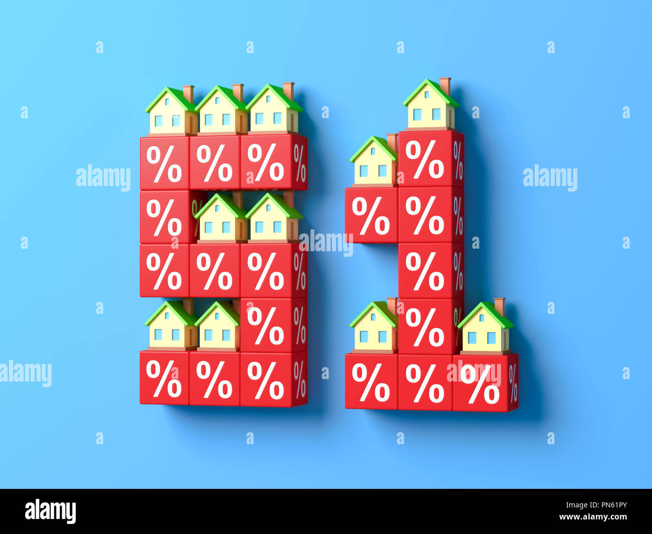 Number Fifty One With Miniature Houses And Red Percentage Blocks. 3d rendering. - Stock Image