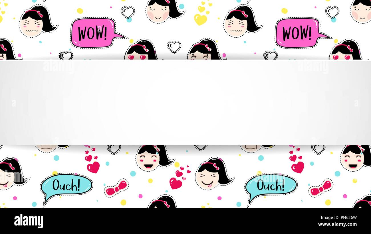 Girl banner with anime emoji pattern  Cute stickers with
