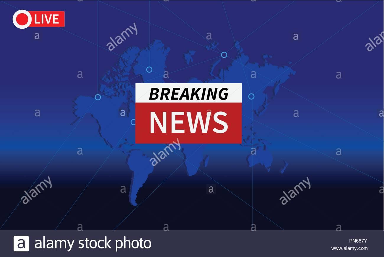 Breaking world news live vector tv - Stock Image