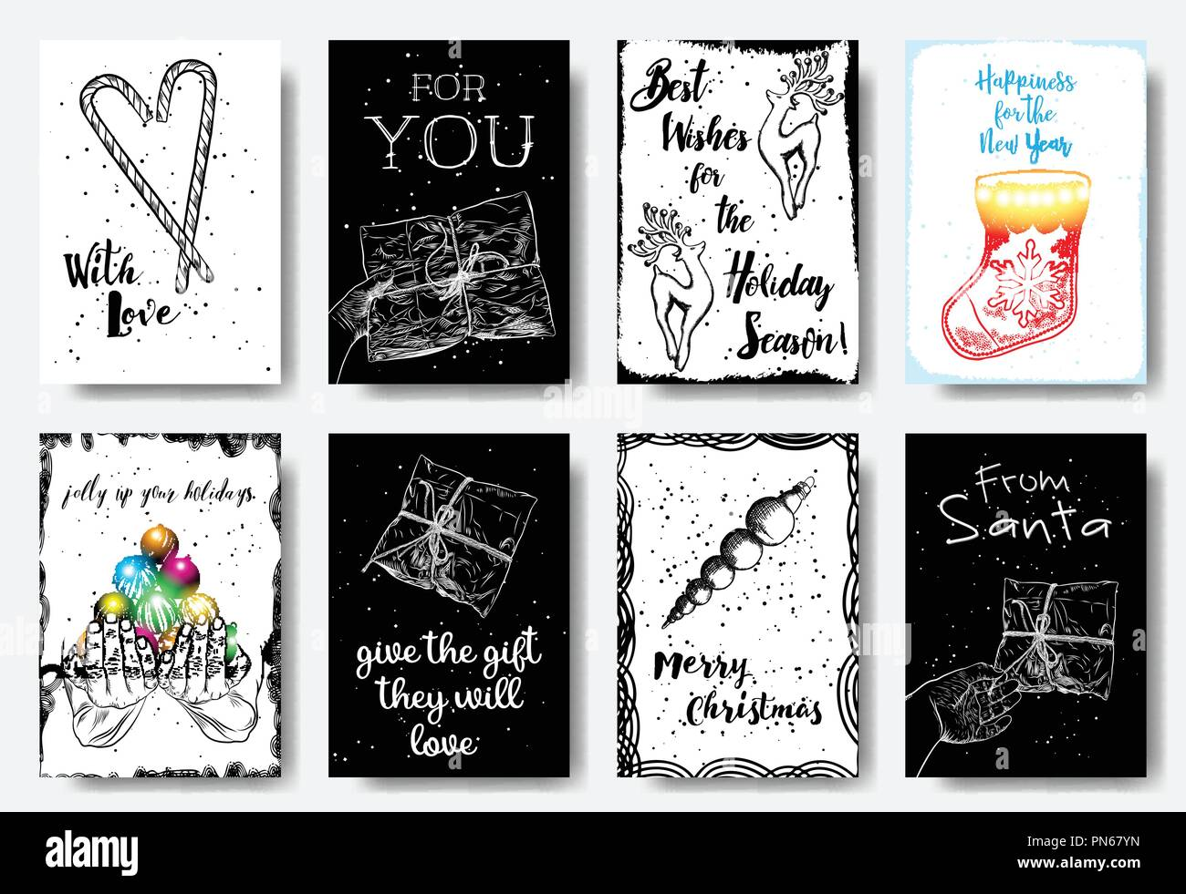 big set of creative holiday banner templates christmas and new year hand drawn illustrations for card posters email and newsletter designs ads pr