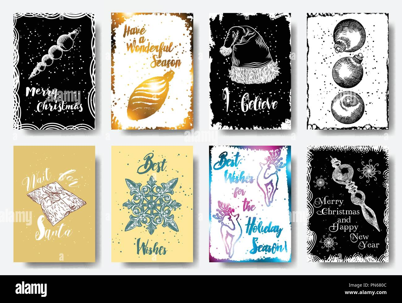 Set of 8 Merry Christmas and Happy New Year hand drawn greeting ...