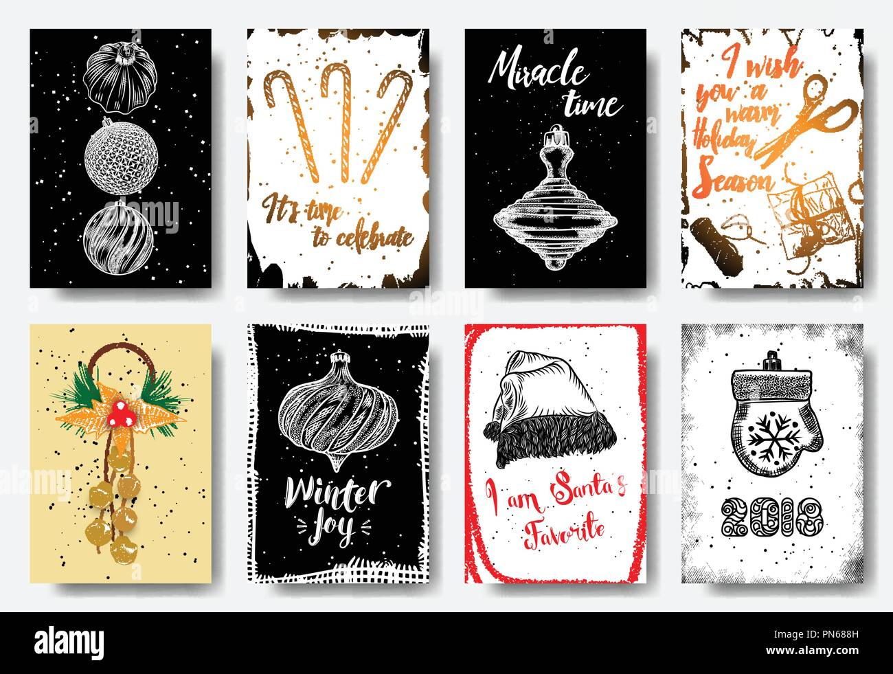 Christmas card tags set, hand drawn style. It's time to celebrate, Mircle time, I wish you a warm Holiday Season, Winter Joy, I am Santa's Favorite, 2 - Stock Vector