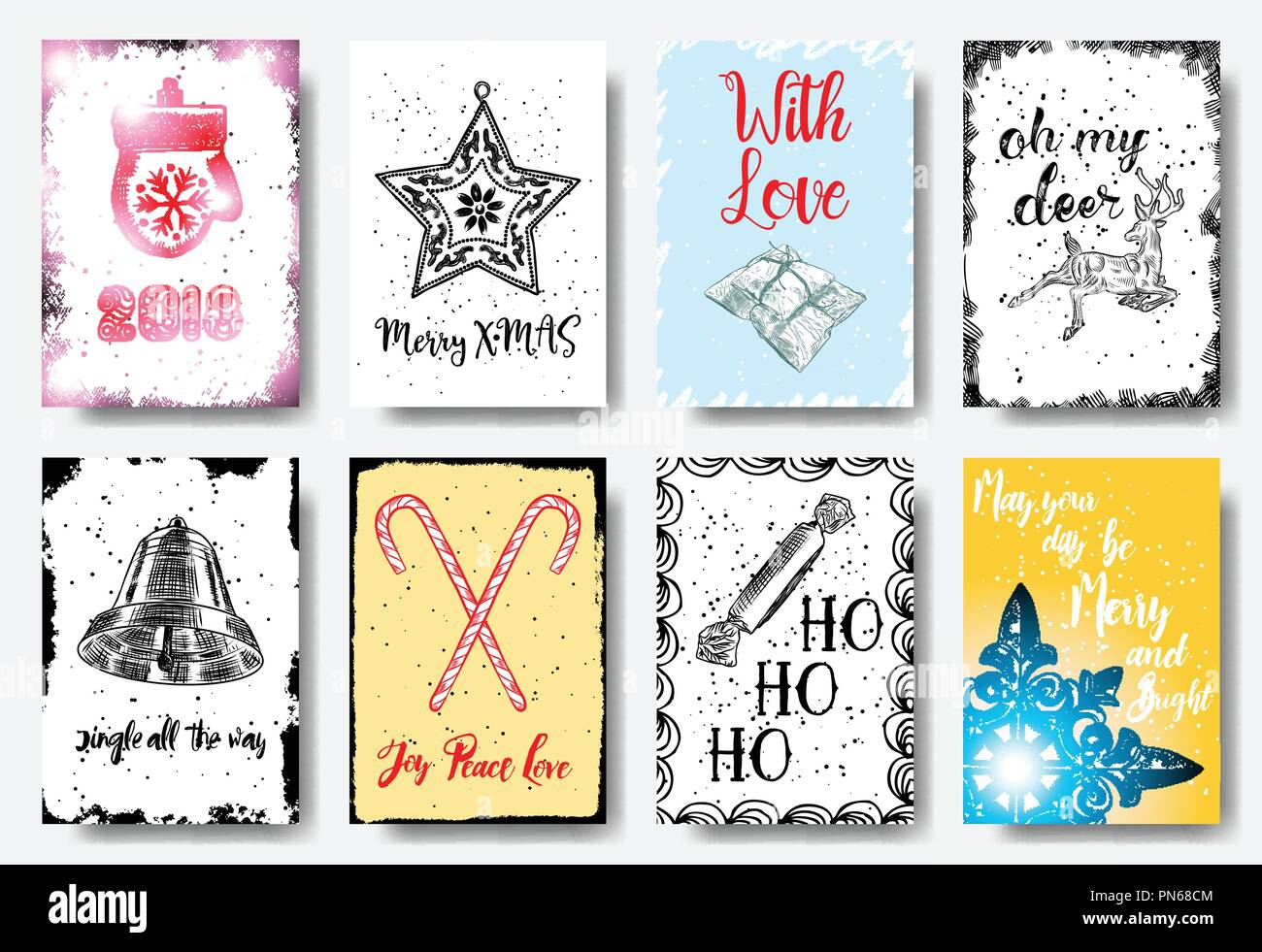 Christmas hand drawn cards with calligraphy 2018, Merry X MAS, with ...