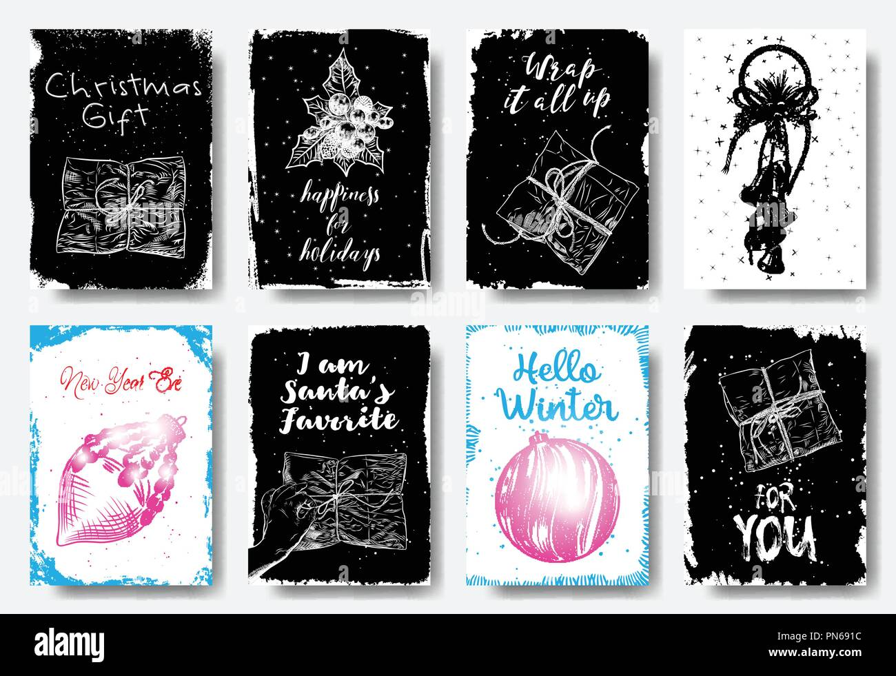 black white and colors decorative hand drawn illustration for winter invitations cards posters gift tags and flyers