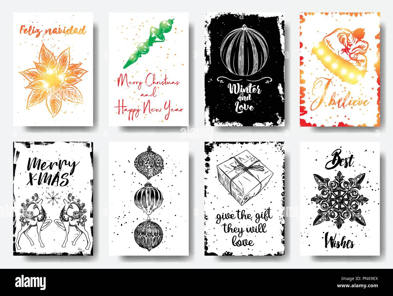Set of hand drawn Christmas greeting cards. Great print for ...