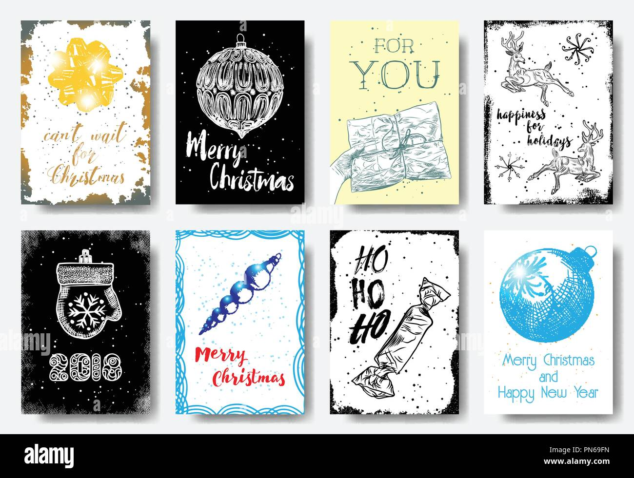 Christmas card tags set, hand drawn style Can\'t wait for Christmas ...