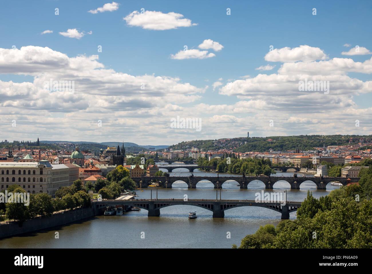 Bridges on Vltava river in Prague, Czech Republic - Stock Image