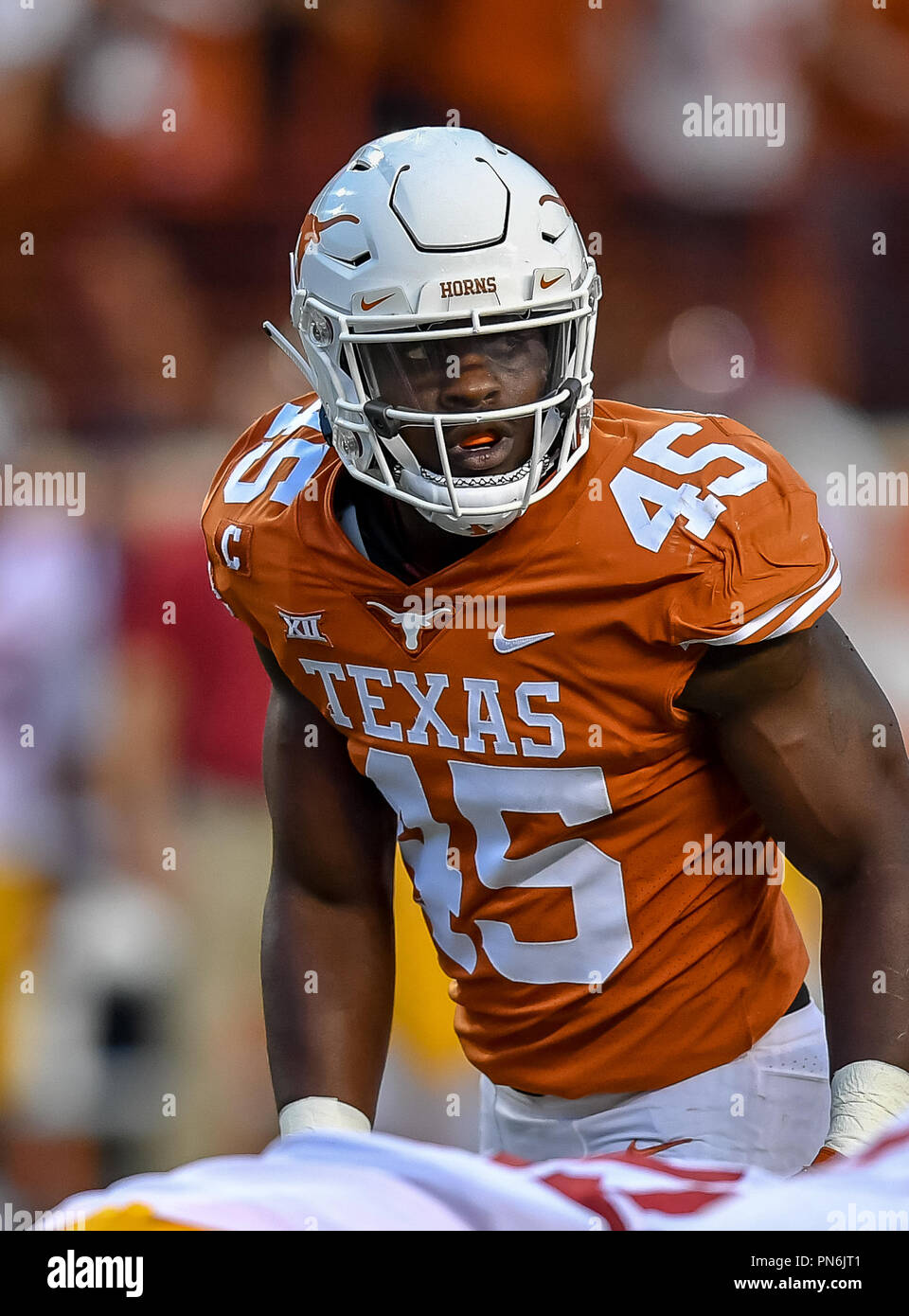 Austin Tx Usa 15th Sep 2018 Longhorn Linebacker 45 Anthony Wheeler Reading The Usc Offense During The Ncaa Football Game Between The University Of Texas Longhorns And The Usc Trojans In Austin