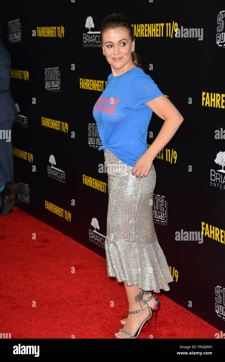 """Los Angeles, USA. September 19, 2018: Alyssa Milano at the Los Angeles premiere for Michael Moore's """"Fahrenheit 11/9"""" at the Samuel Goldwyn Theatre. Picture: Paul Smith/Featureflash Credit: Sarah Stewart/Alamy Live News Stock Photo"""