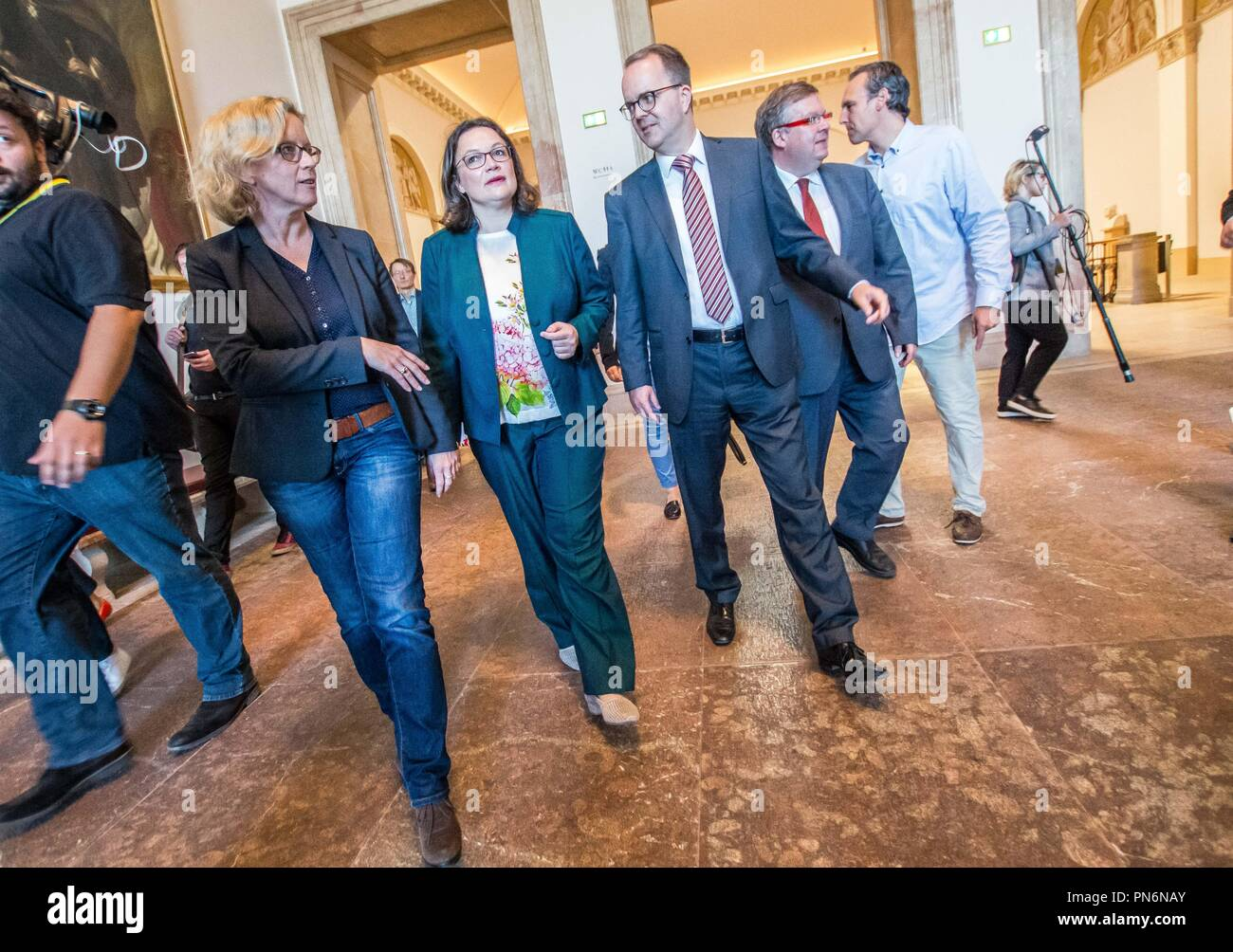 September 20, 2018 - Munich, Bavaria, Germany - NATASCHA KOHNEN, ANDREA NAHLES, MARKUS RINDERSPACHER arrive at the Bavarian Landtag.  ANDREA NAHLES and NATASCHA KOHNEN, the heads of the German and Bavarian fractions of the SPD party respectively, met at the Bavarian Landtag (Parliament) Thursday morning to discuss numerous issues, including the recent promotion of the embattled and allegedly compromised Hans George Maassen (Maaßen) of the Verfassungsschutz to Staatssekretaer.  Despite the alleged giving out of unpublished information to the right-extreme AfD party, consulting with them, and r - Stock Image