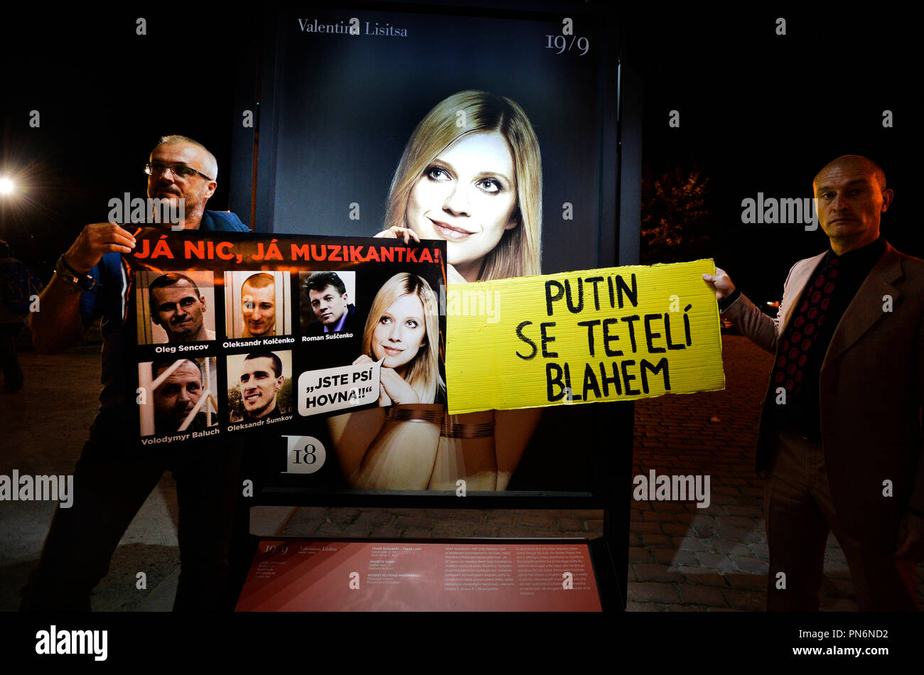 A Prague concert of Ukrainian pianist Valentina Lisitsa held on Wednesday, September 19, 2018, within the Dvorak Prague International Music Festival in the Rudolfinum concert hall was accompanied by protesters distributing leaflets on alleged activities of Lisitsa in support of Russian President Vladimir Putin. About ten people claiming to belong to the Kaputin Facebook group distributed leaflets to the concert-goers that resembled a concert programme, containing information about the alleged activities of the artist, who is of Polish and Russian origin, in private life and on social networks. Stock Photo