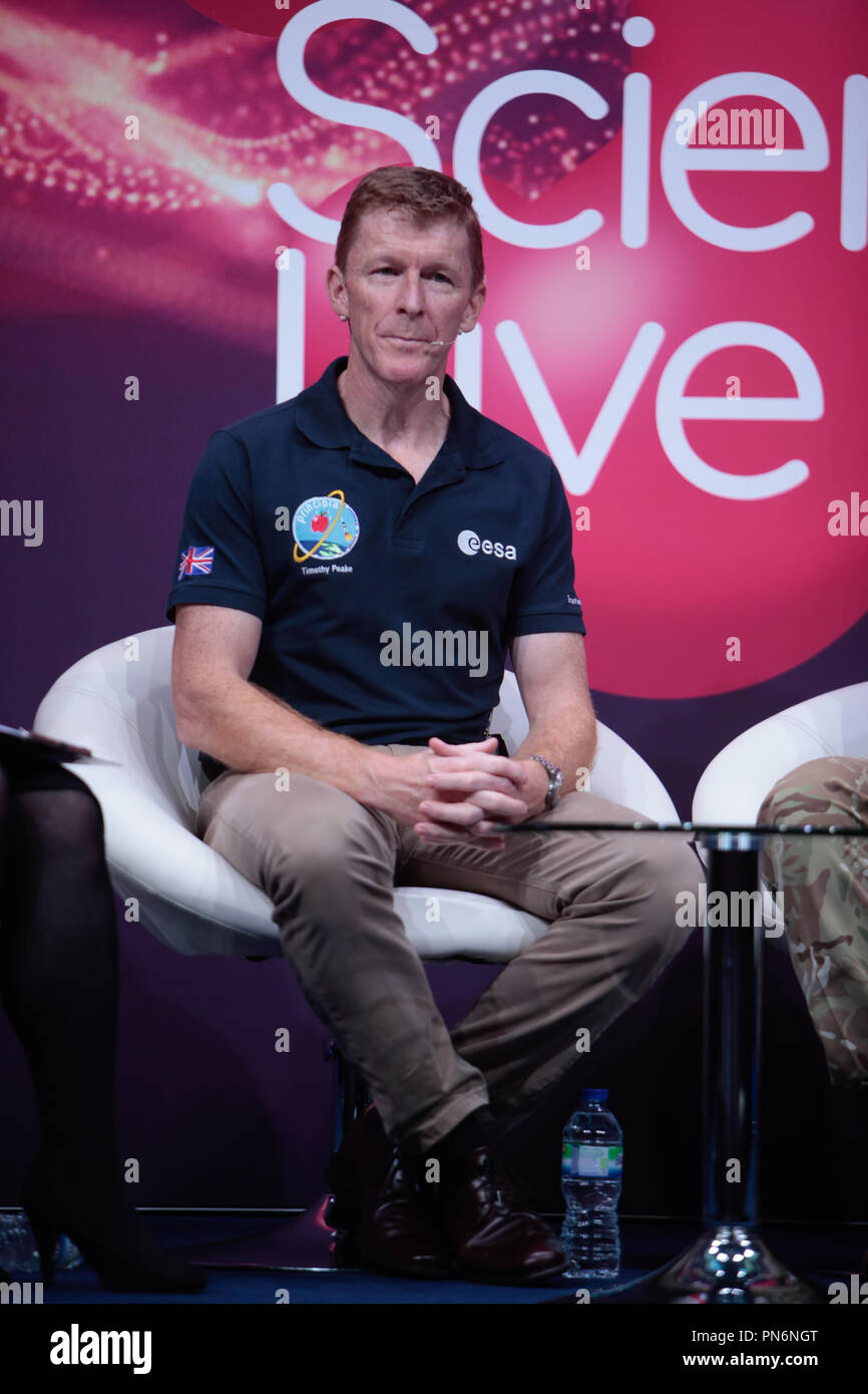 London 20 September 2018 New Scientis Live 2018 Main stage welcomed Tim Peake, European Space Agency (ESA) astronaut of British nationality. He finished his 186-day Principia mission working on the International Space Station for Expedition 46/47 when he landed back on Earth 18 June 2016. Tim has a background as a test pilot and a British Army Air Corps officer@Paul Quezada-Neiman/Alamy Live News - Stock Image
