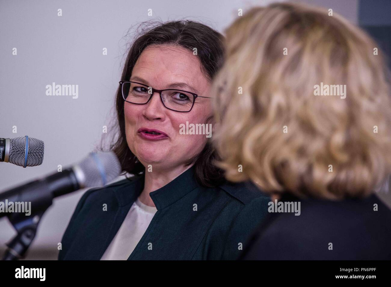 Munich, Bavaria, Germany. 20th Sep, 2018. ANDREA NAHLES, head of the German SPD party. ANDREA NAHLES and NATASCHA KOHNEN, the heads of the German and Bavarian fractions of the SPD party respectively, met at the Bavarian Landtag (Parliament) Thursday morning to discuss numerous issues, including the recent promotion of the embattled and allegedly compromised Hans George Maassen (Maaßen) of the Verfassungsschutz to Staatssekretaer. Despite the alleged giving out of unpublished information to the right-extreme AfD party, consulting with them, and resisting numerous calls to put the party - Stock Image