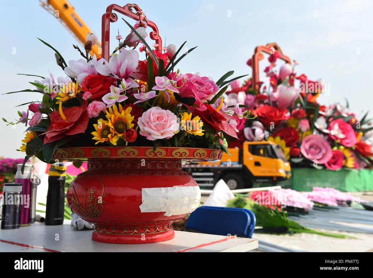 Beijing China 20th Sep 2018 Artificial Flowers Are Placed At The