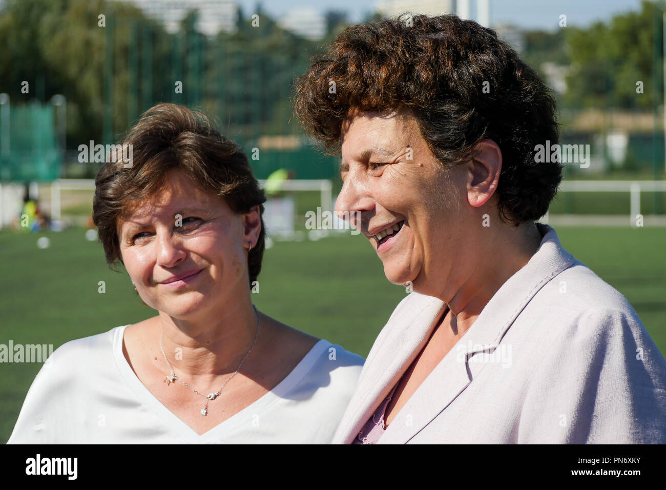 Villeurbanne, France, September 20th, 2018: Accompanied by Frederique Vidal, Minister for Higher Education, former swimming champions and newly promoted Minister of Sports, Roxana Maracineanu is seen at INSA and STAPS High Schools in Villeurbanne, near Lyon (Central-Eastern France) on september 20, 2018, as she meets members of the Organization Comity of Olympic Games and French Federation of Sports, students and champions, on the occasion of the official launching of Generation 2014 label for Universities. Credit photo: Serge Mouraret/Alamy Live News Stock Photo