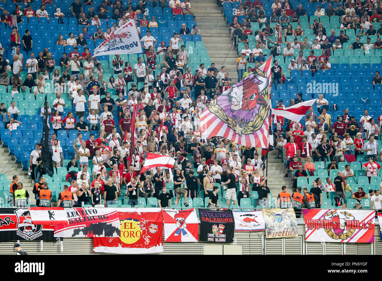 Leipzig Saxony 20th Sep 2018 Soccer Europa League Group Stage Matchday 1 Rb Leipzig Rb Salzburg Fans From Salzburg Who Have Travelled With Them Cheer Their Club On Credit Jan Woitas Dpa Zentralbild Dpa Alamy