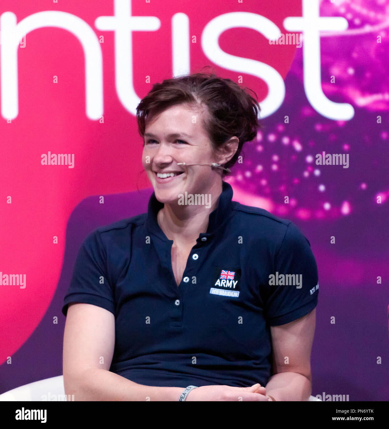 Explorer Nics Wetherill  participating in a talk about life in Space and the wild corners of Earth on the main stage at New Scientist Live, - Stock Image