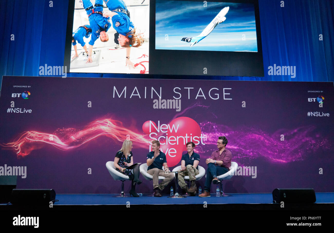 Astronaut Tim Peak and explorers Nics Wetherill and Will Millard tell  Valerie Jamieson of New Scientist Live, about life in Space and the wild corners of Earth  in a talk entitled 'To the End of the Earth and Beyond' - Stock Image