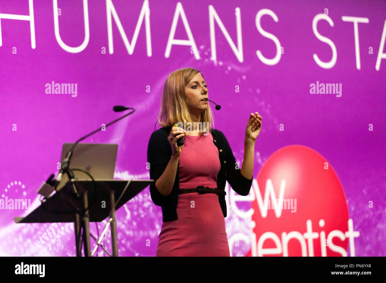 Flavia Mancini  presenting a talk entitled 'Preventing and overcoming chronic pain', on the Humans Stage, at New Scientist Live 2018 - Stock Image