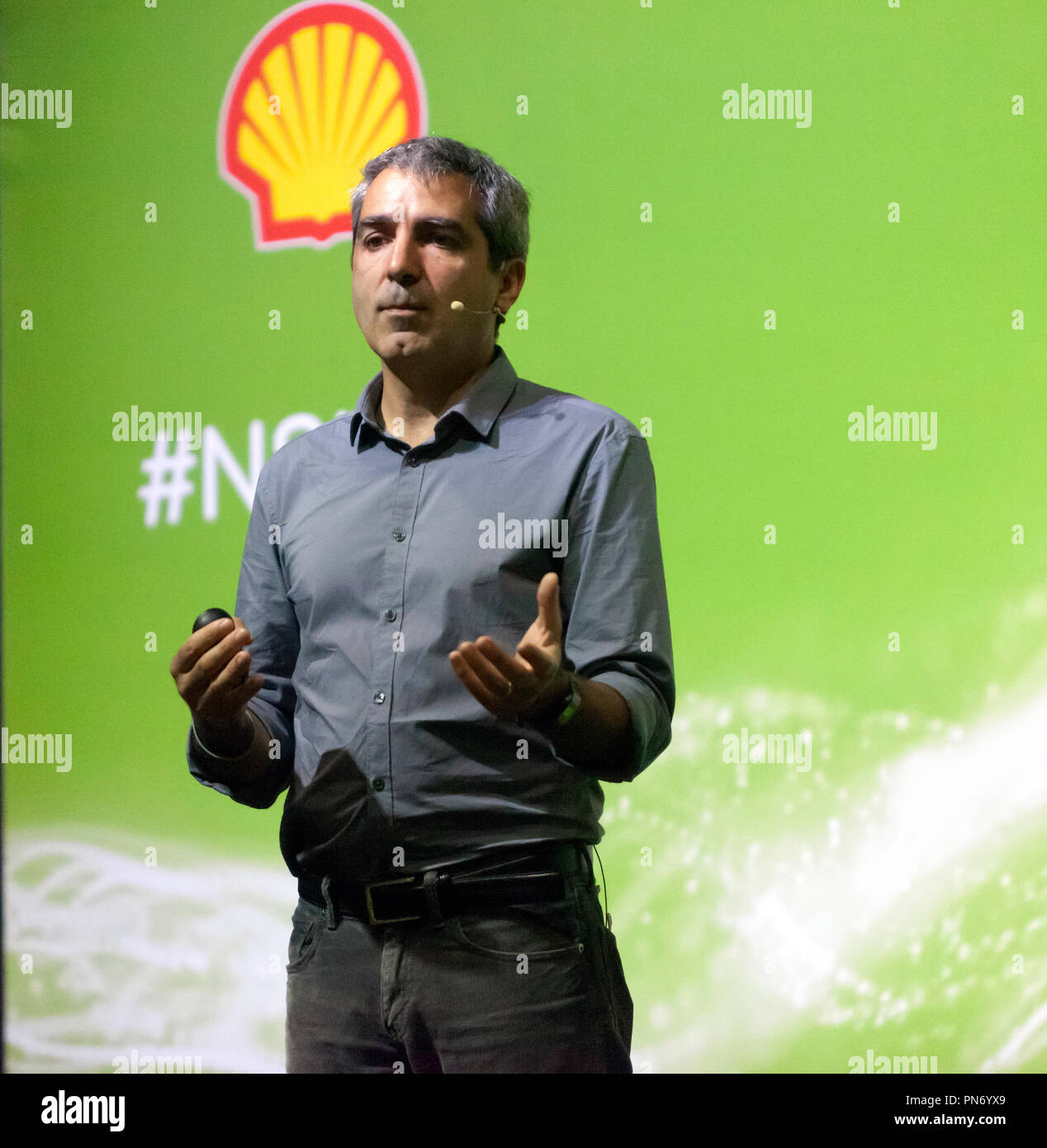 Biologist Serge Wich, talks about how drones are being used  in wildlife conservation, on the Earth Stage, at New Scientist Live 2018 - Stock Image