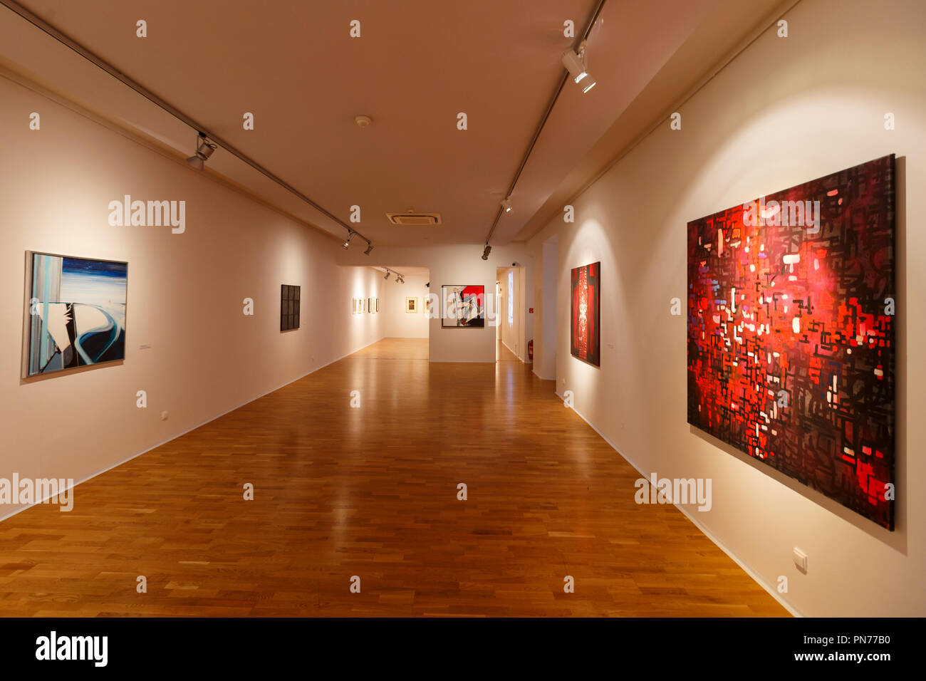 Kosice, Slovakia - August 12, 2018: Temporary exhibition of paintings in East Slovak Gallery in Kosice. Stock Photo