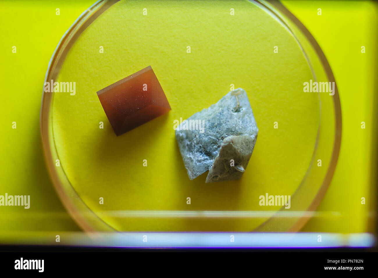 Specimen of Barite stone from mining and quarrying. Baryte or barite (BaSO4) is a mineral consisting of barium sulfate. Baryte is generally white or c - Stock Image