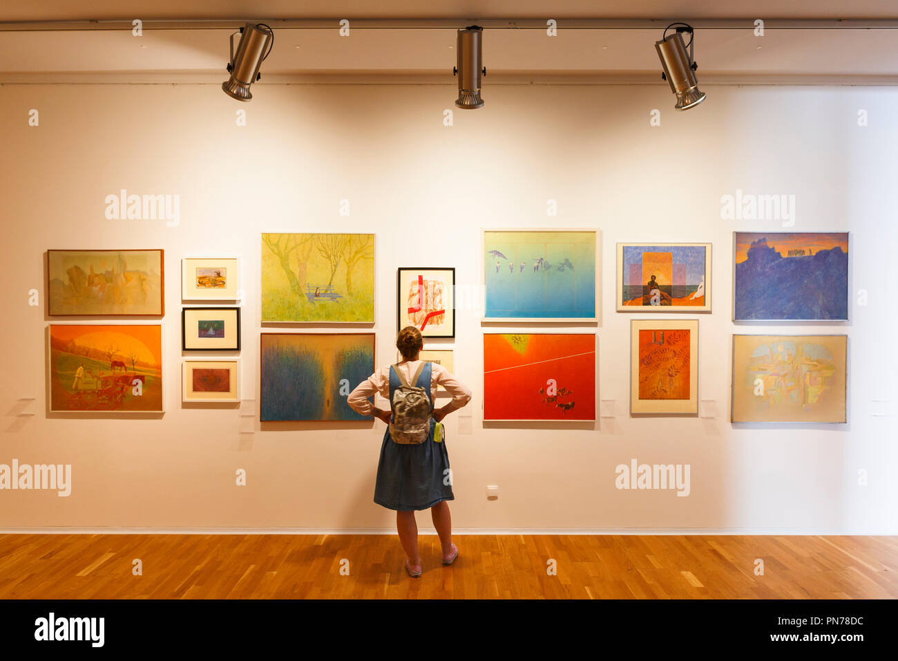 Kosice, Slovakia - August 12, 2018: Visitor to a temporary exhibition of paintings in East Slovak Gallery in Kosice. Stock Photo
