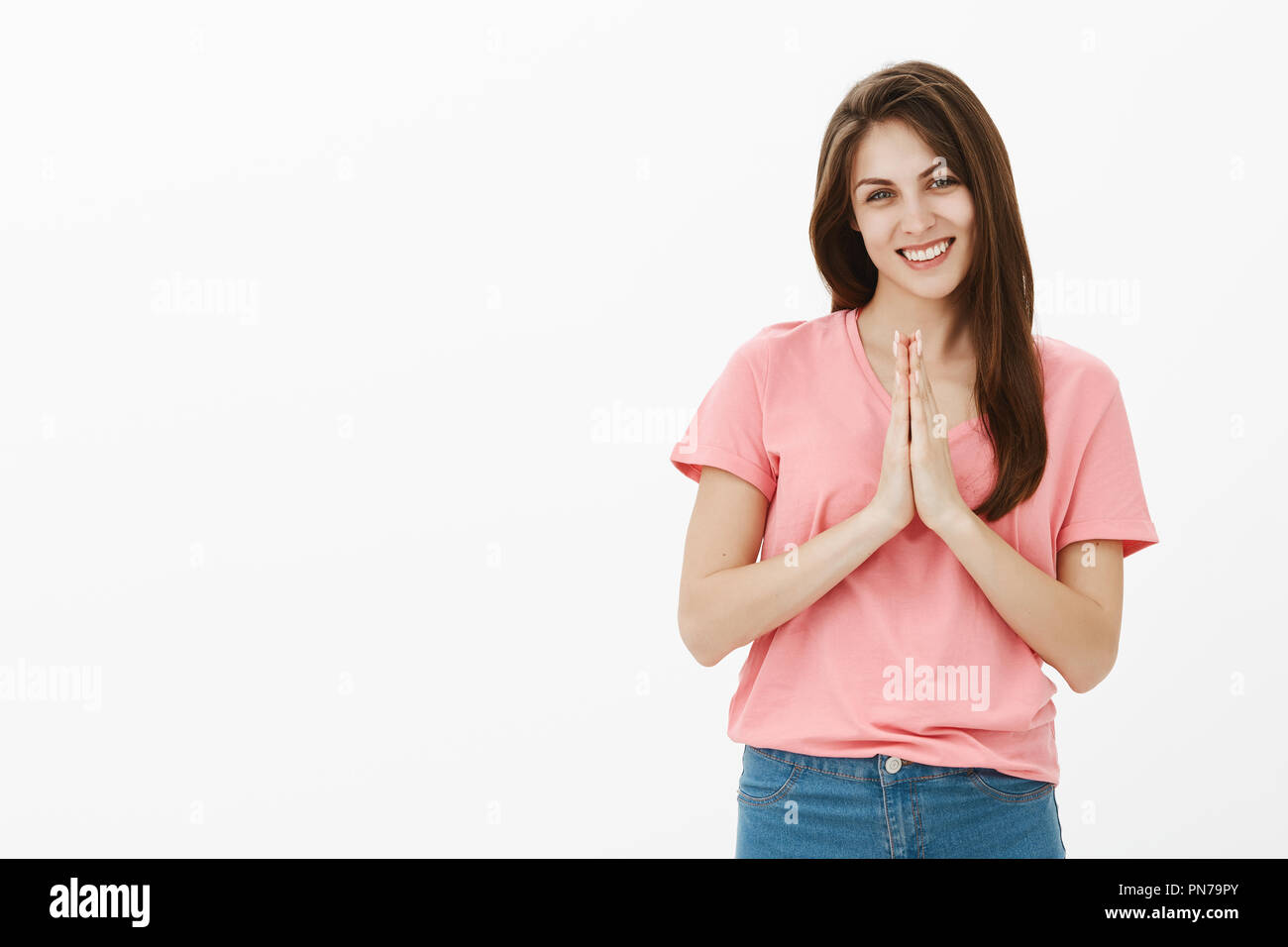 Portrait Woman In Namaste Greeting Stock Photos Portrait Woman In