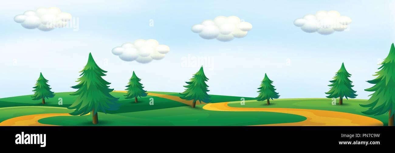 A beautiful nature panorama illustration - Stock Vector