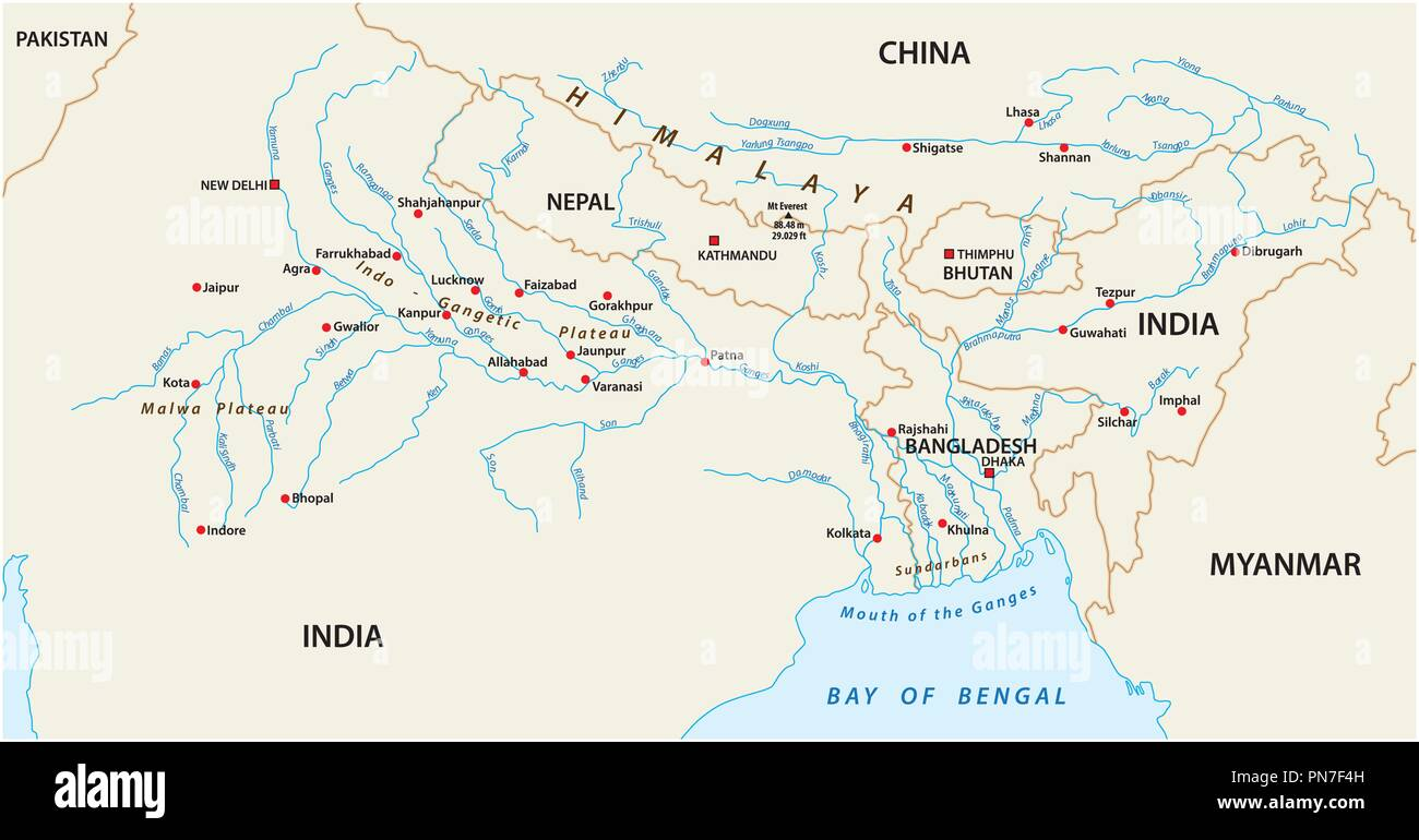 vector Map of the combined catchment areas of the Ganges, Brahmaputra and Meghna rivers. Stock Vector
