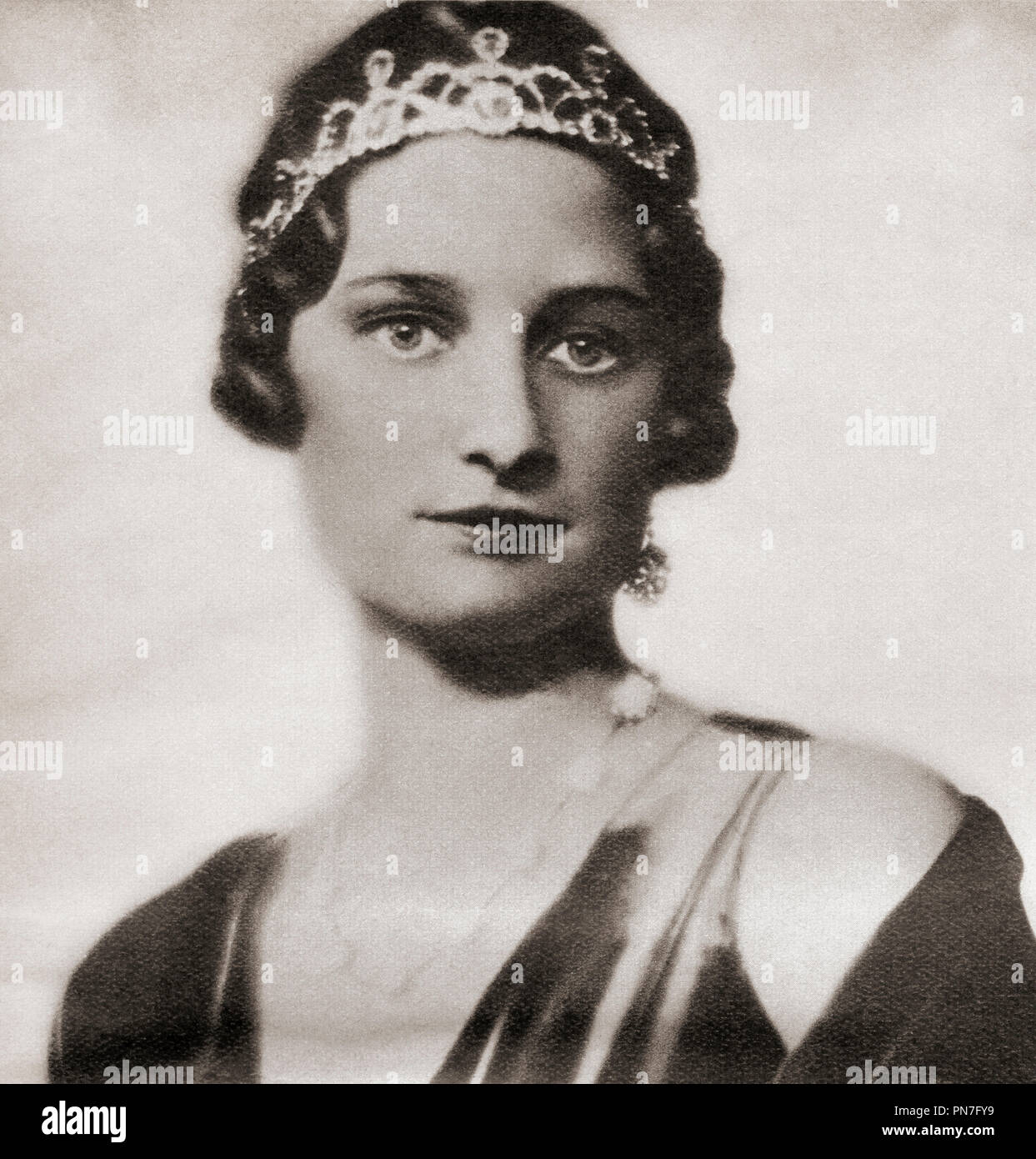Astrid of Sweden, 1905 – 1935. Queen of the Belgians as the first wife of King Leopold III.  From These Tremendous Years, published 1938. - Stock Image