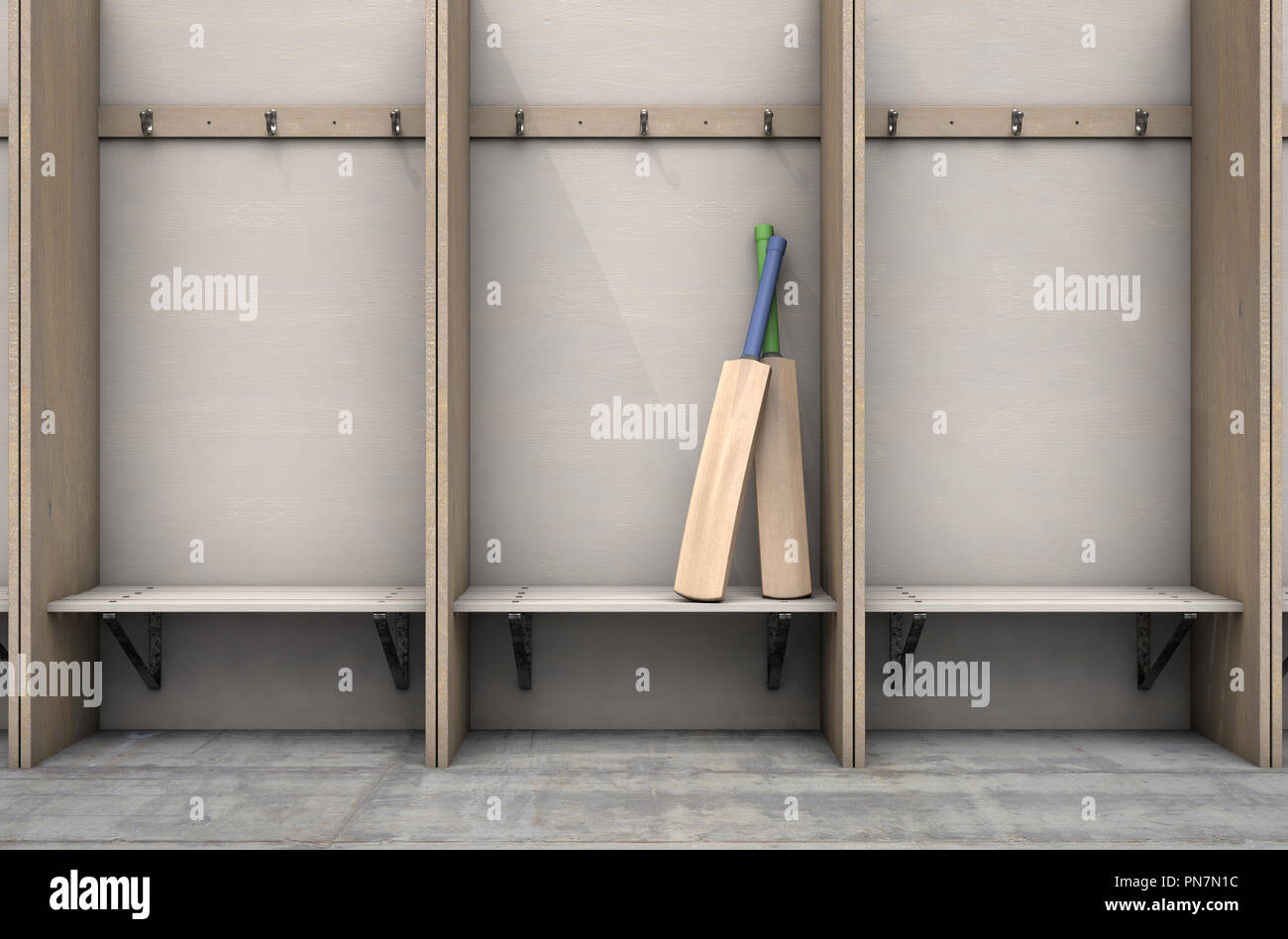 Fabulous Two Cricket Bats In A Wooden Cubicle With A Bench And Beatyapartments Chair Design Images Beatyapartmentscom
