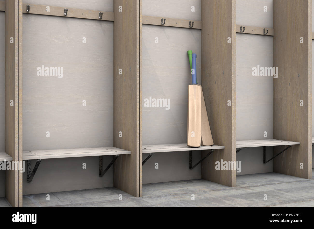Peachy Two Cricket Bats In A Wooden Cubicle With A Bench And Machost Co Dining Chair Design Ideas Machostcouk