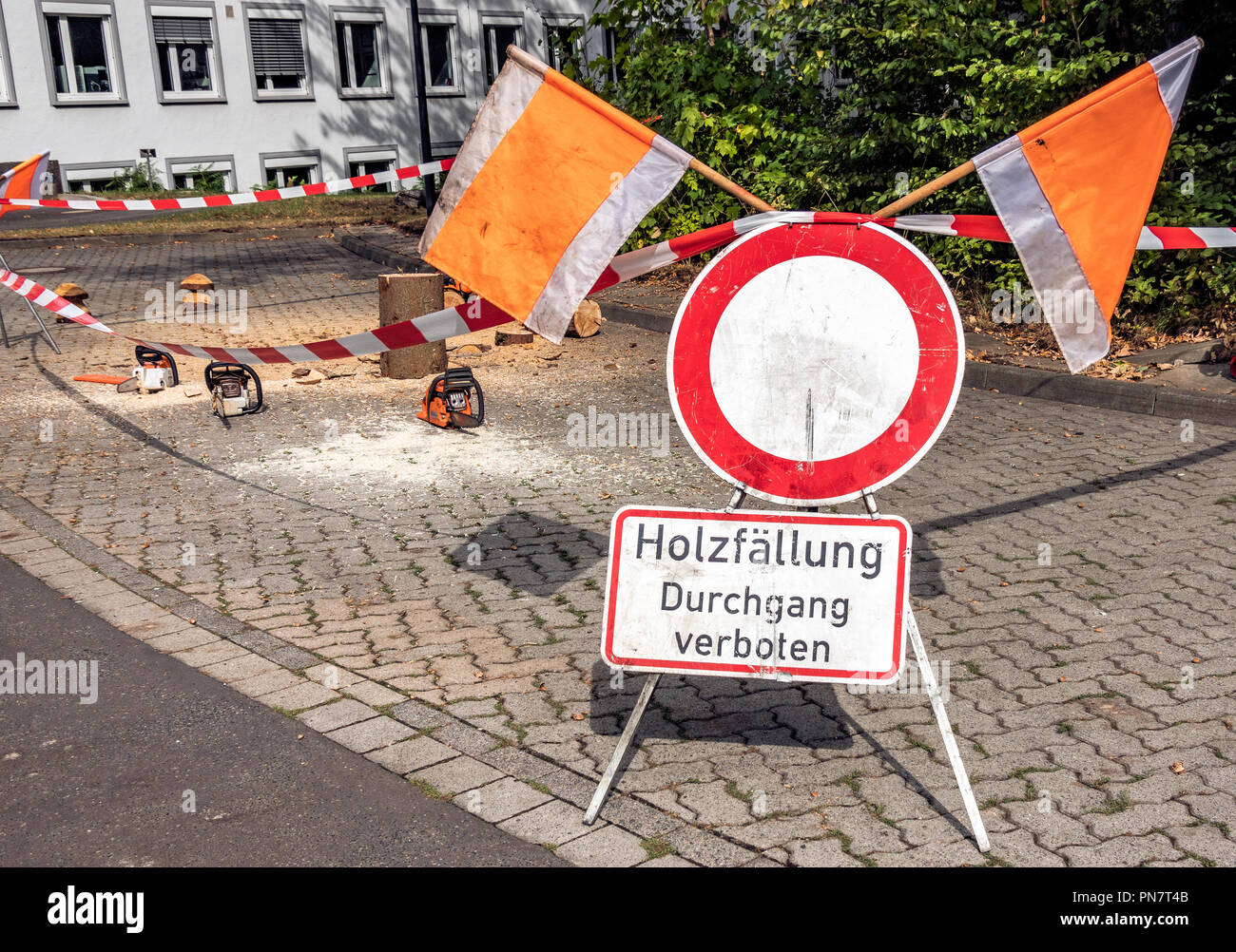 Barrier and warning sign with the German note: logging, passage prohibited! - Stock Image
