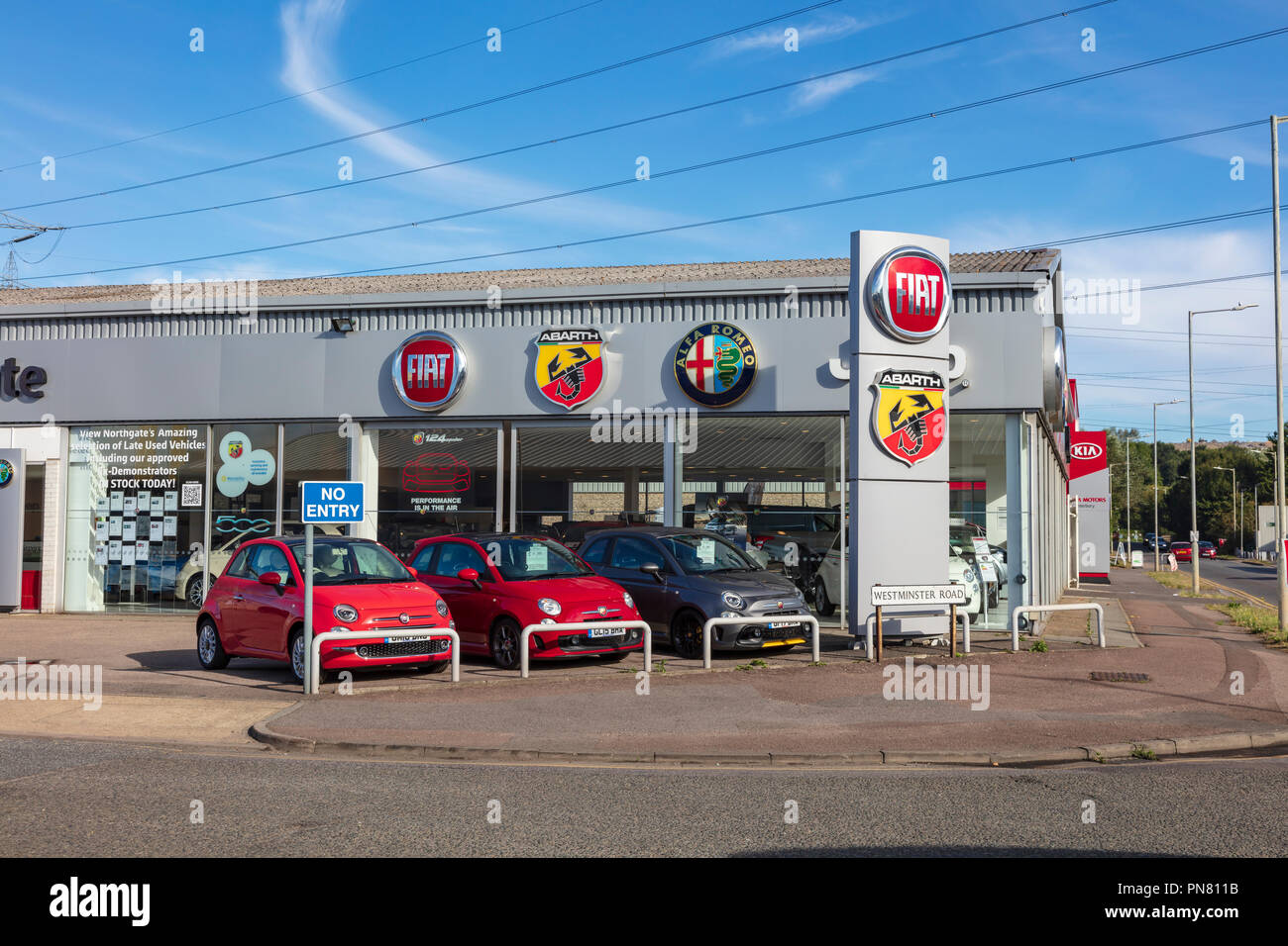 Fiat dealership in Canterbury, Kent, UK - Stock Image