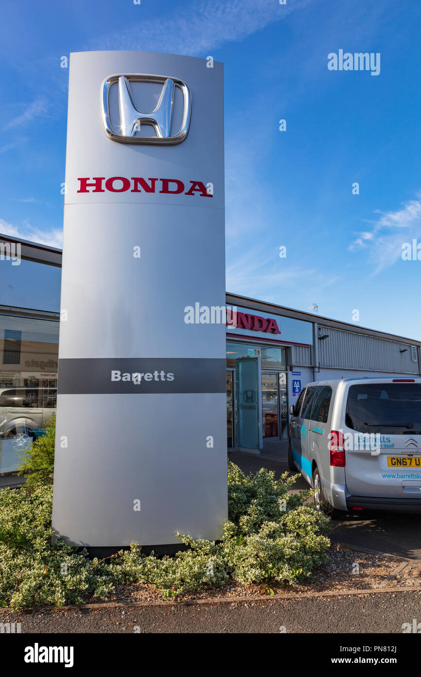 Honda dealership part of Barretts of Canterbury, Kent, UK - Stock Image