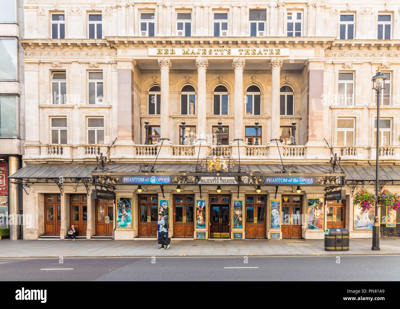 London. September 2018. A view of Her Majestys theatre in London - Stock Image