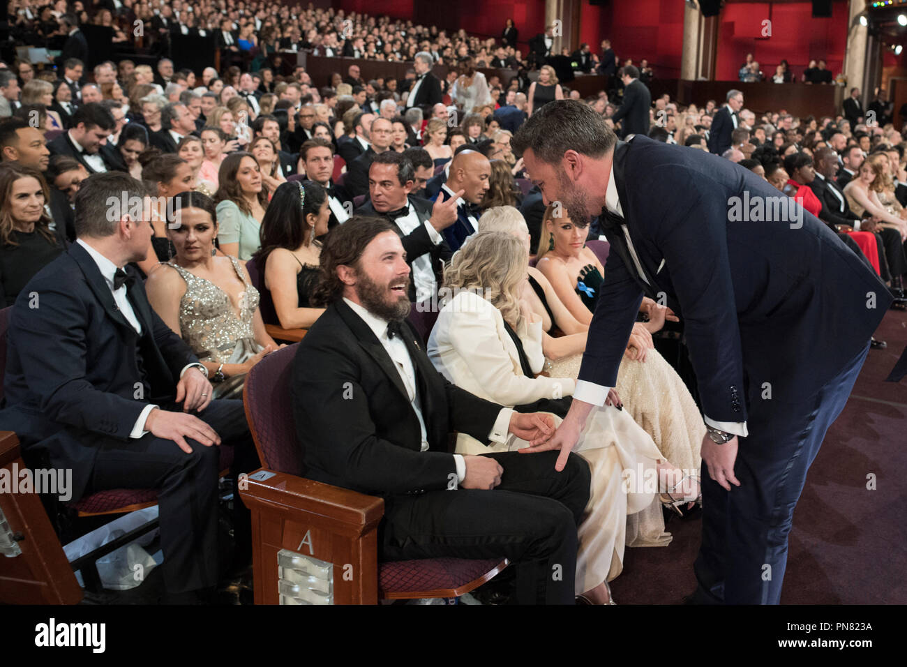 Jimmy Kimmel talks to Oscar® nominee Casey Affleck during the live ABC Telecast of The 89th Oscars® at the Dolby® Theatre in Hollywood, CA on Sunday, February 26, 2017.  File Reference # 33242_571THA  For Editorial Use Only -  All Rights Reserved - Stock Image