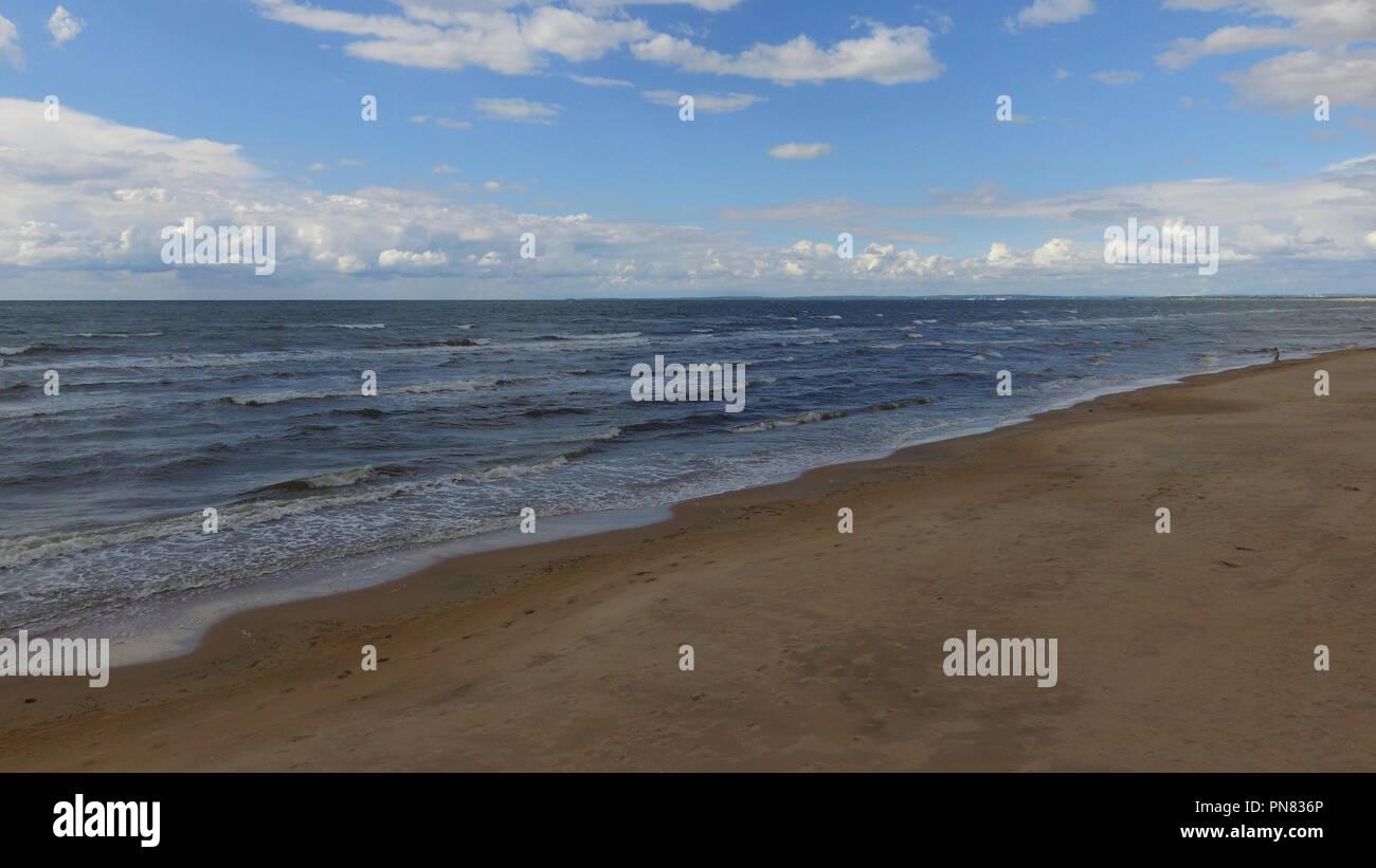 Blue Ocean in Sweden Waves Beach 4k high definition - Stock Image