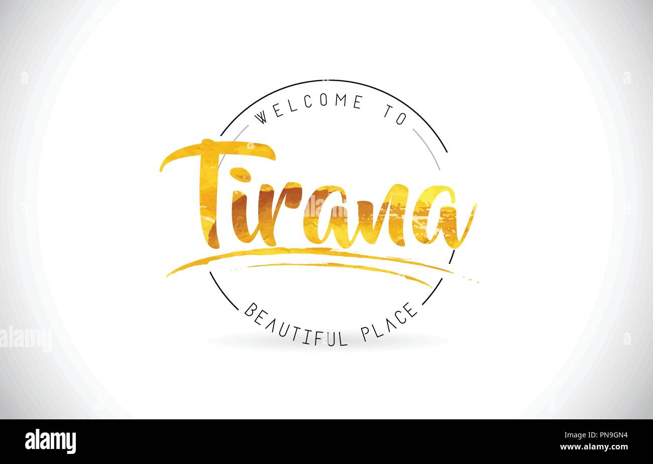 Tirana Welcome To Word Text with Handwritten Font and Golden Texture Design Illustration Vector. - Stock Vector