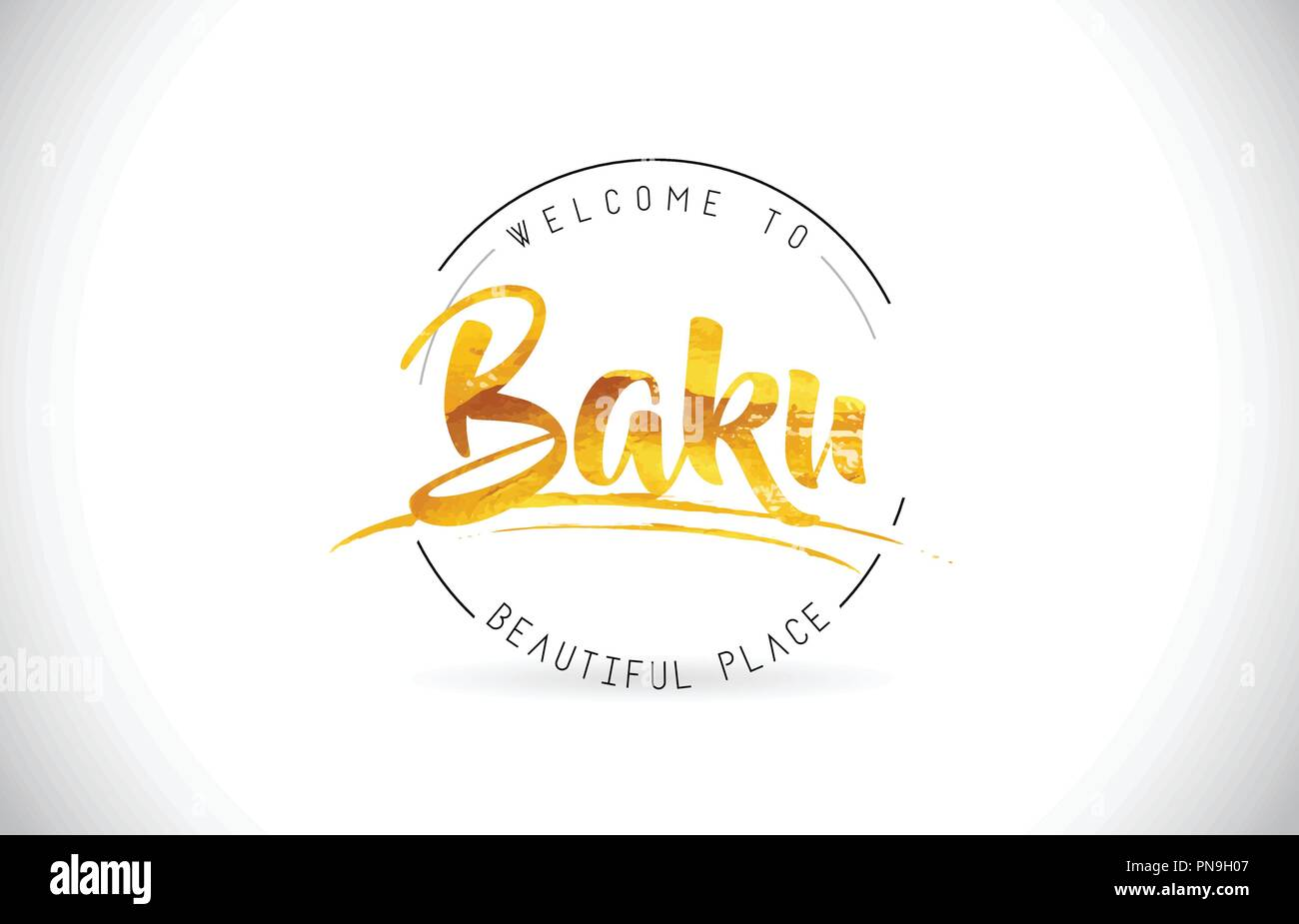 Baku Welcome To Word Text with Handwritten Font and Golden Texture Design Illustration Vector. - Stock Vector