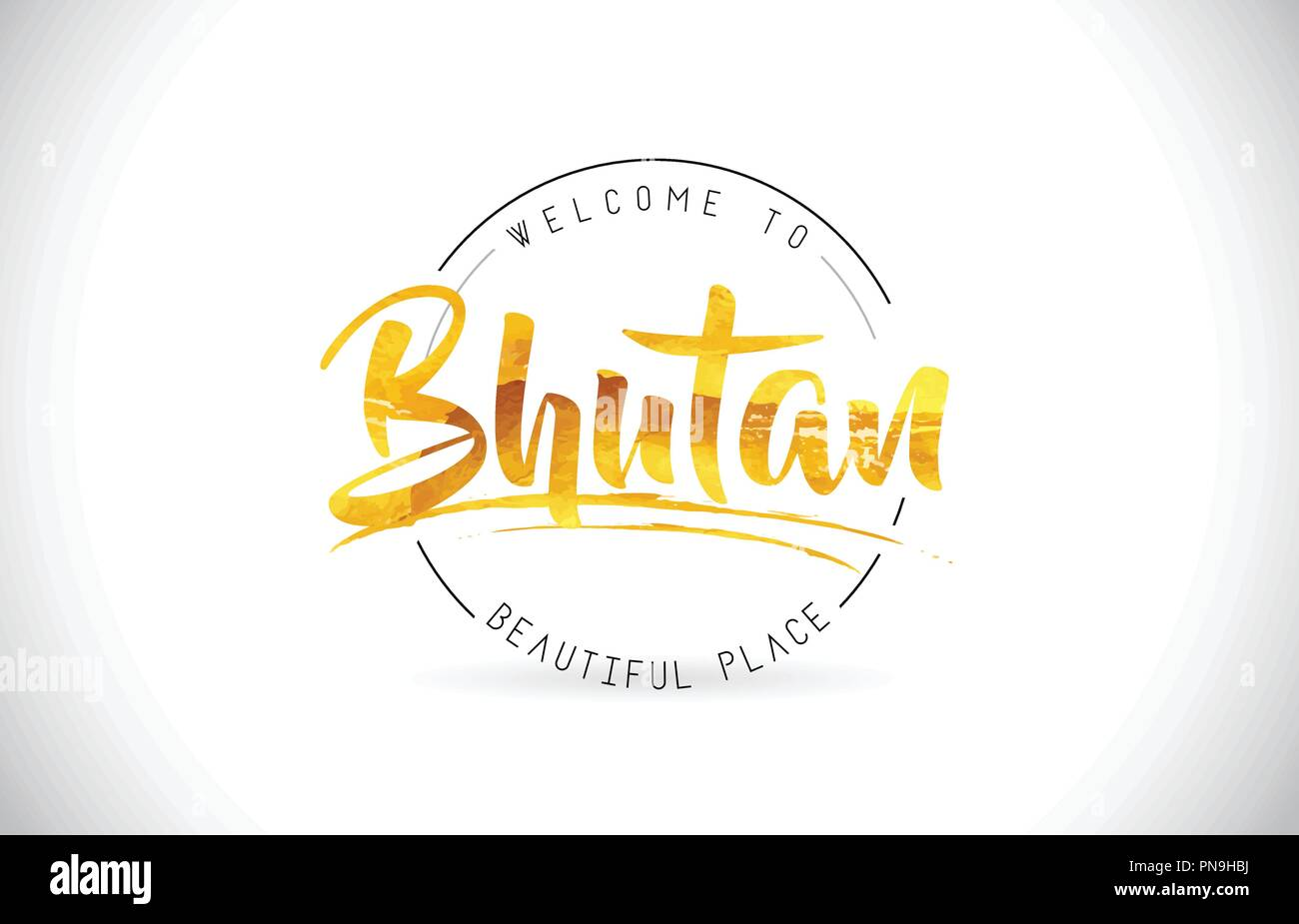 Bhutan Welcome To Word Text with Handwritten Font and Golden Texture Design Illustration Vector. - Stock Vector