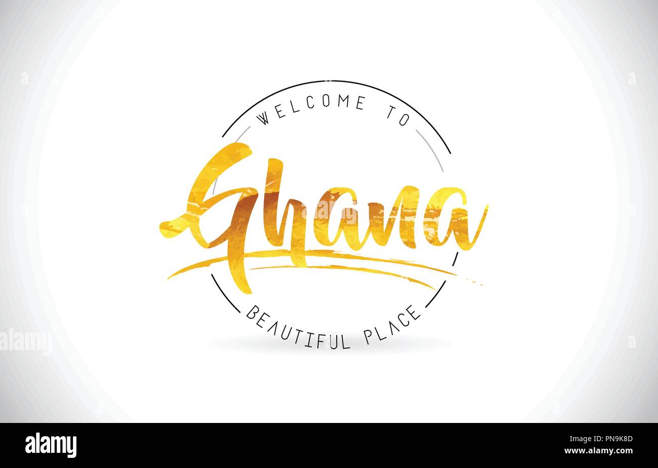 Ghana Welcome To Word Text with Handwritten Font and Golden Texture Design Illustration Vector. - Stock Vector